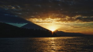 Sunset boat cruise in Amed overlooking Mount Agung